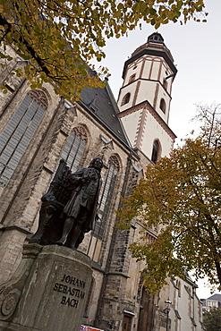 Statue of Bach, Thomaskirche, Leipzig, Saxony, Germany, Europe