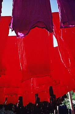 Red dyed cloth drying, Marrakech, Morocco, North Africa, Africa