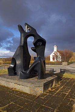 Sonatorrek, modern sculpture created in 1881 by Icelandic sculptor Asmundur Sveinsson, based on poem Sonatorrek, by the 10th century Icelandic warrior-poet Egill Skalla-Grimsson, Borg (Borg a Myrum), near Borgarnes, West Iceland, Iceland, Polar Regions
