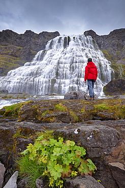 Impressive Dynjandifoss waterfall, in Arnafjordur fjord, in the West Fjords (Vestfirdir), Iceland, Polar Regions