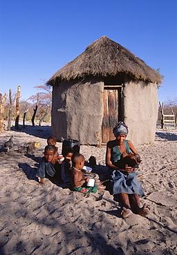 San !Kung village at the foot of Tsodilo Hills, Ngamiland, Botswana, Africa