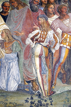 Detail of frescoes in cloister by High Renaissance painter Il Sodoma (Giovanni Antonio Bazzi) painted between 1505 and 1508, of the life of St. Benedict (San Benedetto), showing St. Benedict greeting to his order Placide and Maure, a page, Monte Oliveto Maggiore Abbey, Chiusure, Tuscany, Italy, Europe