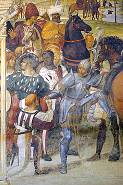 Detail of frescoes in cloister by famous Renaissance painter Luca Signorelli, of the life of St. Benedict (San Benedetto), showing the meeting between Totila, King of Goths, and San Benedetto, Monte Oliveto Maggiore Abbey, Chiusure, Tuscany, Italy, Europe