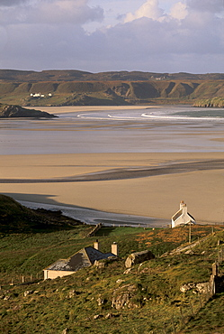 Uig sands (Traigh Chapadail) tidal area, from near Timsgarry, Isle of Lewis, Outer Hebrides, Scotland, United Kingdom, Europe