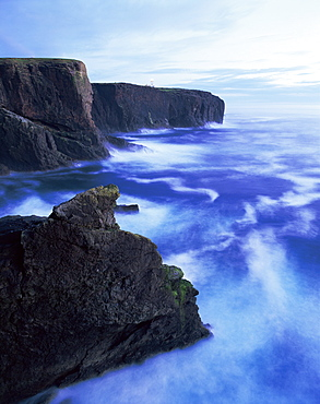 Eshaness basalt cliffs at dusk, Eshaness, Northmavine, Shetland Islands, Scotland, United Kingdom, Europe