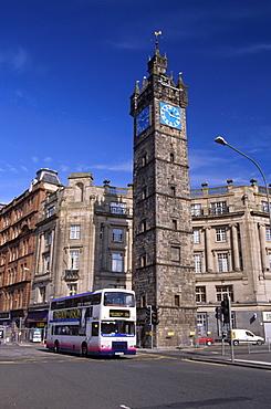 Double-decker bus in a street, Glasgow, Scotland, United Kingdom, Europe