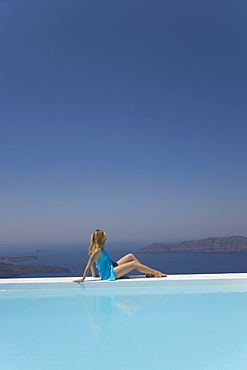Woman in Infinity Pool, Fira, Santorini, Cyclades, Greek Islands, Greece, Europe