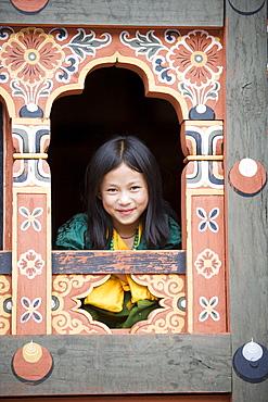 Bhutanese girl, Trashi Chhoe Dzong, Thimphu, Bhutan, Asia