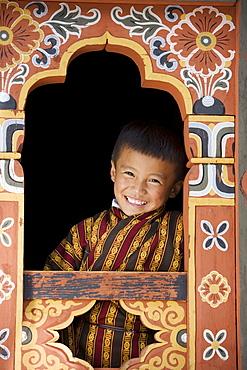 Bhutanese boy, Trashi Chhoe Dzong, Thimphu, Bhutan, Asia