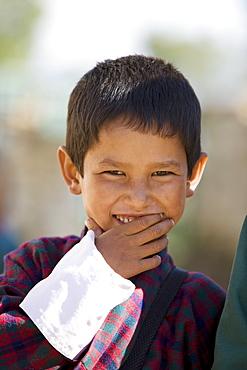 Bhutanese boy in school uniform, Paro, Bhutan, Asia - 772-181