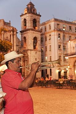 Trumpet player, Plaza de la Catedral, Havana, Cuba, West Indies, Central America