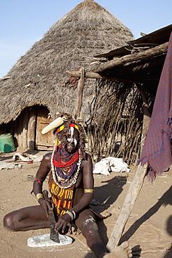 Karo woman, village of Kolcho, Omo Valley, Ethiopia, Africa