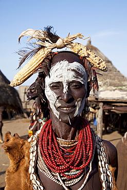 Karo person in the village of Kolcho, Omo Valley, Ethiopia, Africa