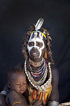 Karo people in the village of Kolcho, Omo Valley, Ethiopia, Africa