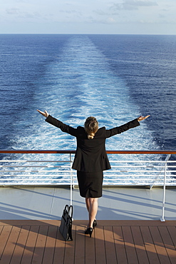 Business woman on a cruise ship, Nassau, Bahamas, West Indies, Caribbean, Central America