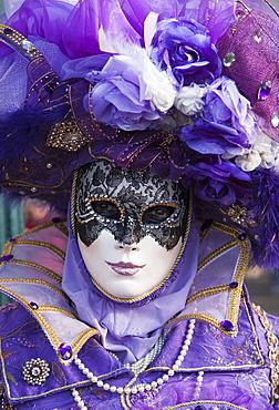 Mask in San Marco Square during Venice Carnival, Venice, UNESCO World Heritage Site, Veneto, Italy, Europe