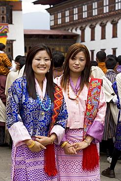 Bhutanese women, Trashi Chhoe Dzong, Thimphu, Bhutan, Asia