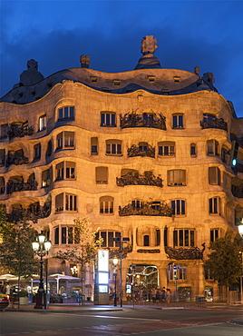 Gaudi's Casa Mila, UNESCO World Heritage Site, Barcelona, Catalonia, Spain, Europe