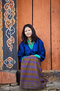 Bhutanese woman, Jankar, Bumthang, Bhutan, Asia