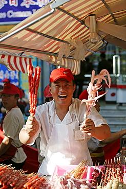 Chinese food, Wangfujing Snack Road, Wangfujing Dajie shopping district, Beijing, China, Asia