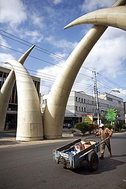 Elephant tusk arches, Mombasa, Kenya, East Africa, Africa