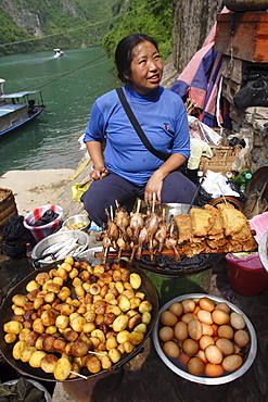 Food for sale at the Three Little Gorges, Daning River, Chongqing province, China, Asia