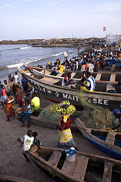 Fishing boats on the beach in Accra, Ghana, West Africa, Africa