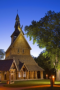 Hopperstad Stave Church at the Hjemkomst Center, Moorhead City, Minnesota, United States of America, North America