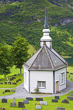 Geiranger village church, Geiranger, Geirangerfjord, Northern Fjord Region, Norway, Scandinavia