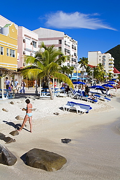 Great Bay Beach, Philipsburg, St. Maarten, Leeward Islands, Netherlands Antilles, West Indies, Caribbean, Central America