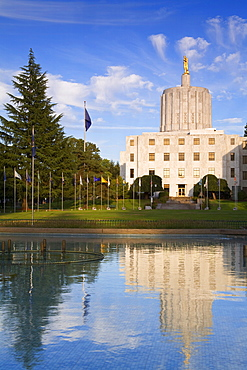 Reflection of the State Capitol building in Salem, Oregon, United States of America, North America
