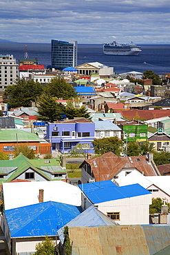 View of Punta Arenas city from La Cruz Hill, Magallanes Province, Patagonia, Chile, South America
