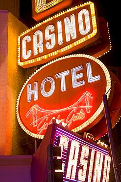 Neon signs on Fremont Street, Las Vegas, Nevada, United States of America, North America