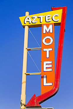 Route 66 motel sign in Nob Hill District, Albuquerque, New Mexico, United States of America, North America