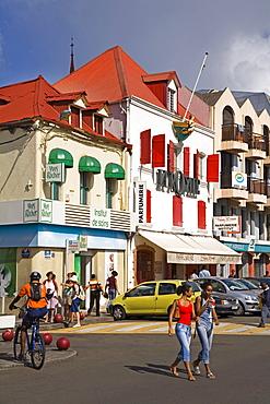 Stores on Ernest Deproge Street, Fort-de-France City, Martinique, French Antilles, West Indies, Caribbean, Central America