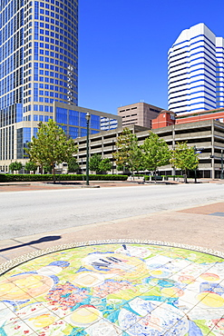 Tilework in Market Square Park, Houston, Texas, United States of America, North America
