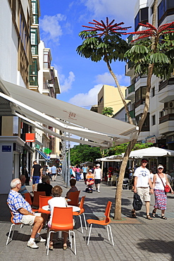 Cafe on Calle Leon Castillo, Arrecife, Lanzarote Island, Canary Islands, Spain, Europe