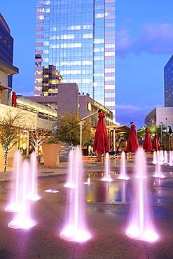 Fountain in CityScape complex, Phoenix, Arizona, United States of America, North America
