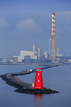 Poolbeg Lighthouse, Dublin City, County Dublin, Republic of Ireland, Europe