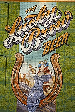 Beer mural on casino wall, Black Hawk City, Rocky Mountains, Colorado, United States of America, North America