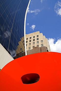 Ivan Chermayeff's Red 9 sculpture, Nine West 57th Street, Midtown Manhattan, New York City, New York, United States of America, North America - 776-703
