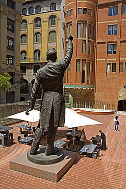 Conductor sculpture outside Palau de La Musica, City of Barcelona, Catalonia, Spain, Europe