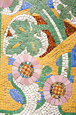 Tile mosaic on Palau de La Musica, La Ribera District, City of Barcelona, Catalonia, Spain, Europe