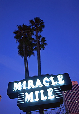 Miracle Mile sign on Wilshire Boulevard, Los Angeles, California, United States of America, North America