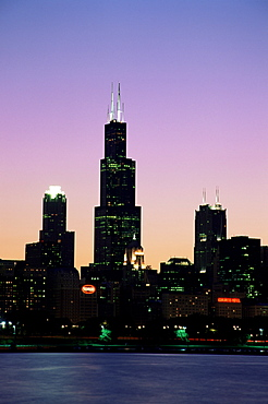 Sears Tower at sunset, Chicago, Illinois, United States of America, North America