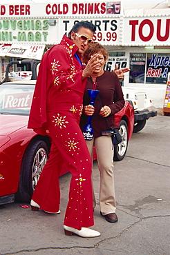 Elvis impersonator on The Strip, Las Vegas, Nevada, United States of America, North America