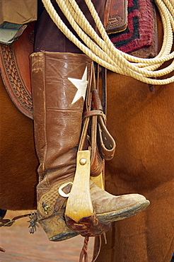 Detail, cowboy on horse, Stockyards National Historic District, Fort Worth, Texas, United States of America, North America