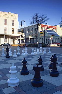 Chess set, Saengerfest Park, Strand Street, Galveston, Texas, United States of America, North America