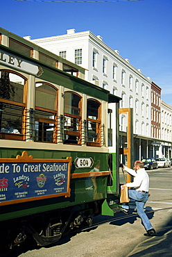 Trolley system, Downtown Galveston, Texas, United States of America, North America