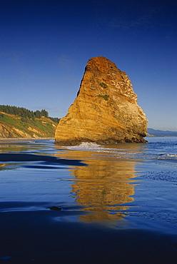 Seastack on beach, Cape Blanco, Port Orford area, Oregon, United States of America, North America